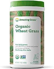 Amazing Grass Wheat Grass 小麦草粉,100%全叶小麦草粉,用于能量,排出毒素和机体支持,共60份,17盎司,480克