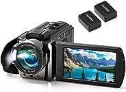 数码摄像机摄像机 kimire 数码YouTube Vlogging摄像机全高清1080P 15FPS 24MP 3.0英寸 270度旋转液晶16倍数码变焦摄像机相机带2节电池