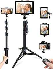 手機平板電腦三腳架,51 英寸(約 129.5 厘米)可延伸智能手機和平板電腦三腳架支架,帶手機/平板電腦支架和遙控器,兼容平板電腦/手機/相機用于自拍/視頻錄制/博客/實時流媒體