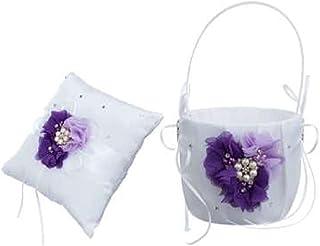 2 颗心形水钻象牙色/白色/蓝色、红色、紫色、黑色饰边、麻布、粉色花朵或香槟缎面结婚戒指轴承枕头和篮子套装(白色和紫色花朵带珍珠)