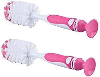 Nuby 2 件装易清洁奶瓶刷,带吸盘底座,粉色