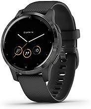 Garmin 佳明 vívoactive – 超薄防水 GPS 健身智能手表带训练计划和动画练习,20个运动应用程序,5天电池续航时间,无触点 Schiefer/Schwarz S