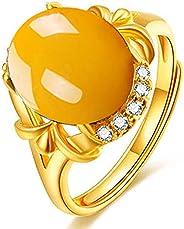 GMMDS 民族风格镶嵌蜂蜡琥珀戒指鸡黄玉髓开口戒指优雅托帕石戒指