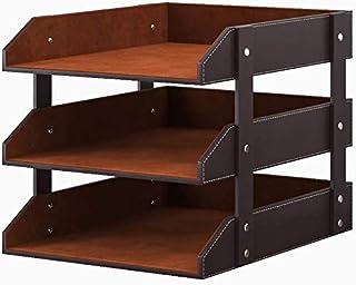 皮革桌面收纳架,3 层可堆叠的信纸托盘支架,适用于办公用品、纸张、文件、杂志,非常适合桌面办公