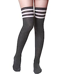 HASLRA 女式过膝袜 1-3 双装 Tube-charcoal1 Medium
