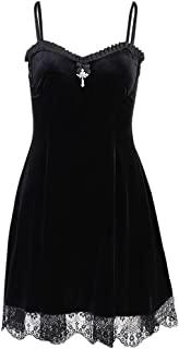 哥特式蕾丝无袖连衣裙黑色蕾丝褶裥紧身女士俱乐部派对礼服复古哥特女士迷你连衣裙
