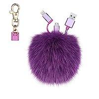 KeyEntre 狐貍毛球絨球鑰匙扣充電線,2 合 1 USB 多充電線兼容 iPhone iPad 三星 Android 電纜適用于汽車鑰匙環包吊墜,生日,紫色