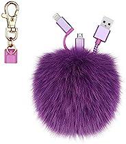 KeyEntre 狐狸毛球绒球钥匙扣充电线,2 合 1 USB 多充电线兼容 iPhone iPad 三星 Android 电缆适用于汽车钥匙环包吊坠,生日,紫色