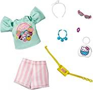 Barbie 讲故事时尚娃娃服装套装灵感来自凯蒂猫和朋友们:浅*卡哇伊东京上衣,条纹短裤和 6 个配饰娃娃,3 至 8 岁儿童礼物