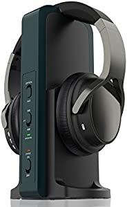 无线耳机,用于观看电视,2.4G 数字射频发射器充电底座,高保真耳罩无线耳机,带光学/RCA/3.5毫米端口,用于观看家庭电视游戏计算机
