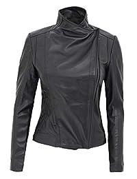 女士黑色皮夹克 - 真羊皮摩托车夹克