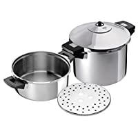Kuhn Rikon Duromatic Inox Stainless Steel Pressure Cooker with Side Grips, Set of 2, 4 Litre and 6 Litre / 24 cm