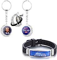 Donald Trump 2020 钥匙扣美国大选金属钥匙圈硅胶手链新奇腕带纪念品礼品适合女士男士青少年