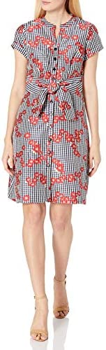 Adrianna Papell 女士条纹花卉喇叭绣花衬衫连衣裙