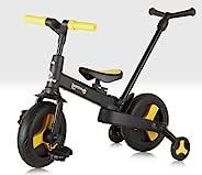 Trike Bike 儿童三合一平衡自行车 带父母手柄 2 岁以上可折叠 黑色和黄色