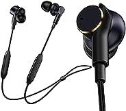 蓝牙耳机,[降噪铁环扬声器] 带麦克风的挂颈无线耳机,四个扬声器重低音运动耳塞,16 小时播放时间,IPX7 防水耳机