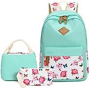 BLUBOON 學校背包套裝帆布少女書包 15 英寸筆記本電腦背包兒童午餐手提包手拿包 Mint Green-0115 X大碼