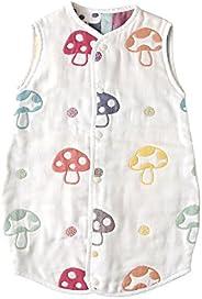 Hoppetta 6层透气纱布儿童睡衣睡袋 两用 蘑菇图案 宝宝尺寸 5463