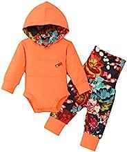 新生兒女嬰衣服嬰兒熊字母印花連身衣長褲帽子套裝 橙色 0-3 Months