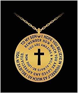 Mom To Son 项链 - 银色/金色十字架吊坠母亲礼物 - 个性化激光雕刻 金色 43216-112308