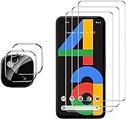 GESMA 适用于 Google 谷歌 Pixel 4a 屏幕保护膜和相机保护器,[3 个屏幕保护膜 + 2 个相机保护器] [触摸敏感 [不适合4a 5G] 适用于Pixel 4a 4G的钢化玻璃屏幕保护膜(透明)