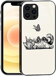 TnXee iPhone 12 Pro Max 手机壳,蝴蝶猫趣味图案适用于 iPhone 12 Pro Max 手机壳,女式女孩玻璃防刮保护套,带 TPU 软边防滑设计手机壳,适用于 iPhone 12Pro Max-