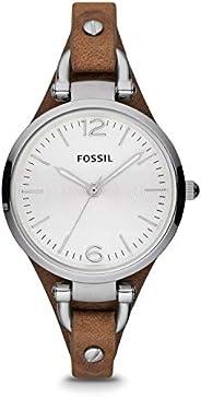 Fossil 女式 32mm Georgia 手表带棕色皮革表带