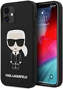"KARL LAGERFELD KLHCP12SSLFKBK 手机壳适用于iPhone 12 Mini 5.4""硬壳黑色硅胶图标"