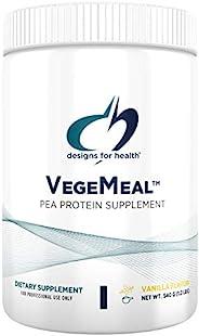 Designs for Health VegeMeal 粉 - 香草豌豆蛋白代餐奶昔 - 16克非乳制豌豆蛋白,维生素+矿物质 - 奶昔混合饮料(15份/540克)