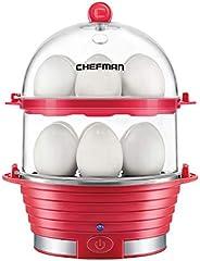 Chefman 电煮蛋器,快速煮蛋器和炖锅,食品和蔬菜蒸锅,快速煮 12 个鸡蛋,硬或软煮 红色 , Cooker Boiler,,需配变压器