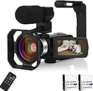 视频摄像机摄像机4KVlogging相机带麦克风适用于YouTube摄像机48MP视频摄像机,带电脑红外灯遥控器,镜头罩,稳定器,2节电池