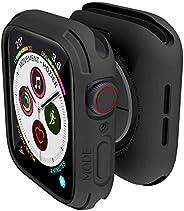 elkson 兼容 Apple Watch 系列 6 SE 5 4 保险杠保护套 44 毫米 iWatch Quattro 系列外壳防摔耐用*级保护 TPU 弹性防震抗 44 毫米黑色