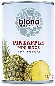 Biona Organic Mini Pineapple Rings in Pineapple Juice 400g (Pack of 6)