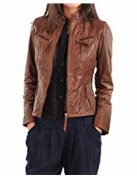 皮革 FARM 女式羊皮飞行员机车夹克棕色