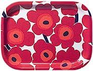 Marimekko 玛莉美歌 Mini Unikko系列 胶合板托盘 白色与红色 20厘米×27厘米 67766 001