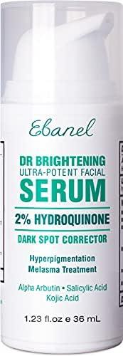 Hydroquinone 2% 黑斑祛痘精华,面部,除毛膏,*精华,含维生素 C,改善亮肤黑斑,适合男士女性敏感肌肤,1.23 盎司