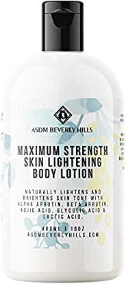 ASDM Beverly Hills Natural Maximum Strength 皮肤亮白身体乳液 ~ 含曲酸、阿尔法熊果苷、乙醇酸和乳酸,防止衰老 ~ 适合所有肤质 ~16 盎司,480 毫升