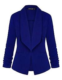 Unifizz 女式休闲西装口袋前开襟开衫工作办公室夹克 3/4 袖