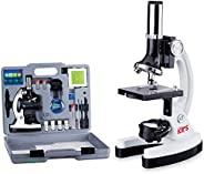 AmScope120X-1200X 52件儿童初学者显微镜STEM套件,带金属机身显微镜,塑料载片,LED灯和携带盒(M30-ABS-KT2-W),白色