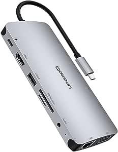 UPGROW USB C 集线器,13 合 1 Type-C 集线器,配有 4K HDMI,VGA,2 个 USB 3.0,3 个 USB 2.0,USB C/F,USB C 充电器,SD/TF,RJ45 以太网,麦克风/音频,USB C 扩展站兼容 Mac Pro 和其他 C 型笔记本电脑