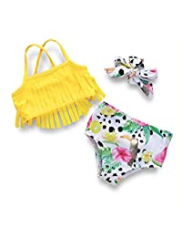 bilison 新生女婴水果流苏吊带泳装花卉泳装海滩装带头巾