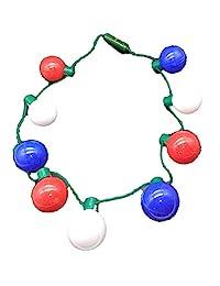 爱国项链 - LED 球项链 - 流露出美国骄傲的红白和蓝 - 共和党或民主拉力赛 - 美国装饰 - 选举聚会