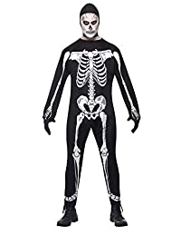 Smiffy's 男士 Skeleton Jumpsuit Costume With Hood and Gloves