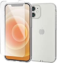 【手機殼、薄膜套裝】 Elecom iPhone 12 mini 軟殼 極 帶玻璃膜 透明 PMWA20AUCTCR