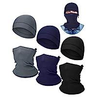 6 件兒童冬季保暖無檐小便帽保暖套裝,3 件羊毛帽 3 件拉繩頸套(黑色、灰色、*藍)