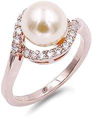 Lavencious 8 mm 珍珠戒指象牙色 AAA CZ 細密鑲 5-10 結婚珠寶