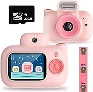 儿童相机玩具适合 4-10 岁女孩,可充电儿童双镜头数码相机男孩女孩防震 1500 万像素,带 32G SD 卡*佳生日,粉红色