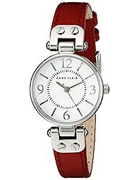 Anne Klein 10/9442 女士皮革表带手表,红色/银色,均码