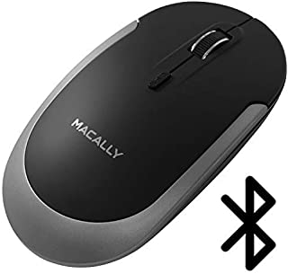 Macally Silent 无线蓝牙鼠标,适用于 Apple Mac 或 Windows PC 笔记本电脑/台式电脑   纤薄紧凑鼠标 带光学传感器和 DPI 开关 800/1200/1600   小型,方便旅行,黑色