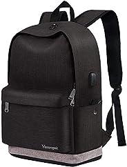 高中背包,学校青少年男孩大号黑色背包书包,USB 充电端口,女士男士旅行背包休闲背包上学背包,适合大学学生成人背包